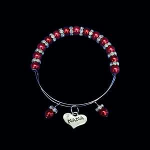 nana pearl crystal expandable charm bracelet, bordeaux red or custom color