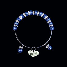 Load image into Gallery viewer, nana pearl crystal expandable charm bracelet, dark blue or custom color