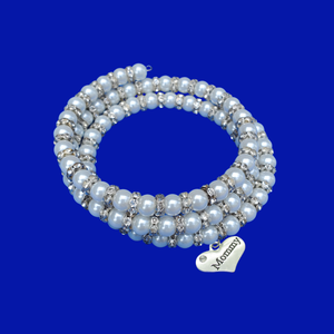 Mommy handmade pearl and crystal expandable, multi-layer wrap charm bracelet