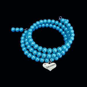Mommy Handmade Pearl Multi-Layer, Wrap, Expandable Charm Bracelet, aquamarine blue or custom color