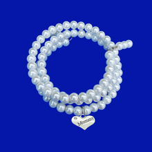 Load image into Gallery viewer, Mommy Handmade Pearl Multi-Layer, Wrap, Expandable Charm Bracelet, white or custom color
