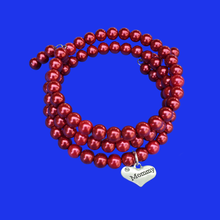 Load image into Gallery viewer, Mommy Handmade Pearl Multi-Layer, Wrap, Expandable Charm Bracelet, bordeaux red or custom color