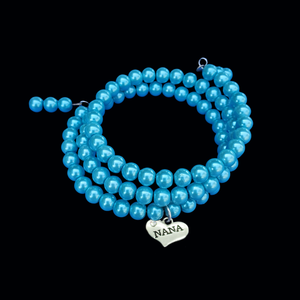 Handmade Nana Multi-Layer, Expandable, Wrap Pearl Charm Bracelet, Aqua Marine Blue or custom color