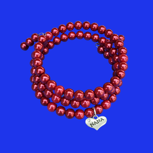 Handmade Nana Multi-Layer, Expandable, Wrap Pearl Charm Bracelet, Bordeaux red or custom color