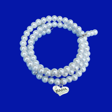 Load image into Gallery viewer, Handmade Nana Multi-Layer, Expandable, Wrap Pearl Charm Bracelet, White or custom color