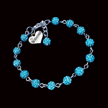 Load image into Gallery viewer, Bridesmaid Gift Ideas - Bridesmaid Gift, bridesmaid crystal charm bracelet, aquamarine blue or custom color