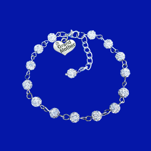 Grand Mother Gift - New Grandmother Gift Ideas - grand mother crystal rhinestone charm bracelet, silver clear or custom color