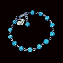 Load image into Gallery viewer, Grand Mother Gift - New Grandmother Gift Ideas - grand mother crystal rhinestone charm bracelet, aquamarine blue or custom color