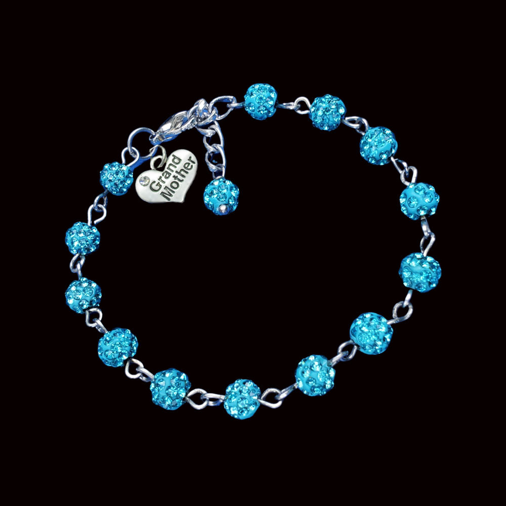 Grand Mother Gift - New Grandmother Gift Ideas - grand mother crystal rhinestone charm bracelet, aquamarine blue or custom color