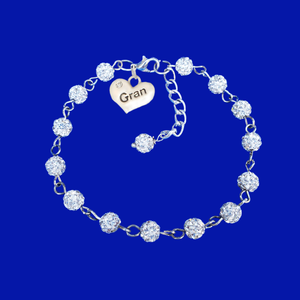 handmade gran pave crystal charm bracelet, silver clear or custom color
