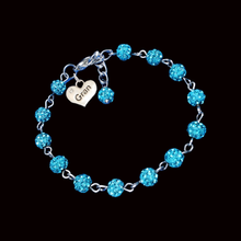 Load image into Gallery viewer, handmade gran pave crystal charm bracelet, aquamarine blue or custom color