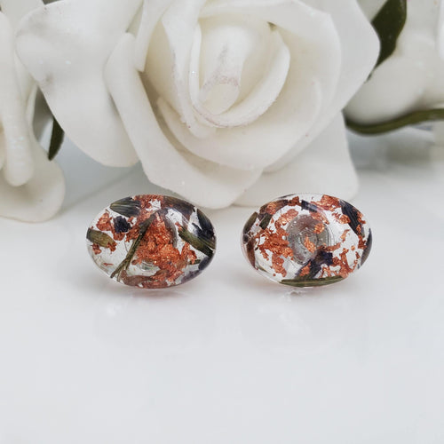 Flower Stud Earrings, Earrings, Oval Earrings - handmade resin oval stud earrings with lavender petals and rose gold flakes