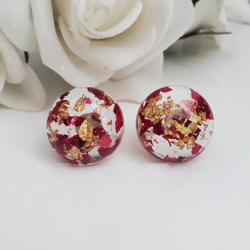 Flower Stud Earrings, Resin Earrings, Round Earrings - Handmade real flower resin round stud earrings made with rose petals and gold flakes