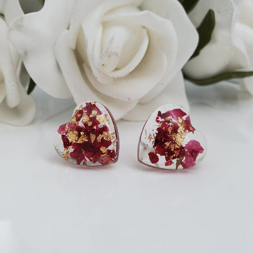 Flower Stud Earrings, Earrings, Stud Earrings - Handmade floral resin stud earrings with rose petals and gold leaf flakes