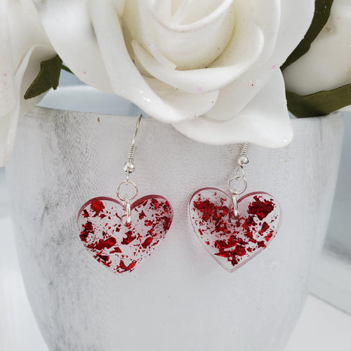 Heart Earrings, Drop Earrings, Resin Earrings, Earrings - Resin drop heart earrings in red flakes