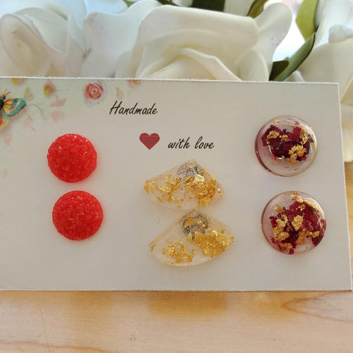 Flower Stud Earrings, Earrings, Stud Earrings Set - Handmade metallic red druzy earrings, gold flake shell earrings, rose petals and gold flake semi-sphere earrings