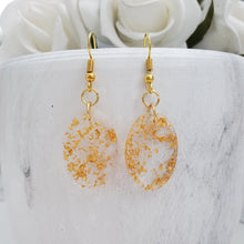 Load image into Gallery viewer, Oval Earrings, Drop Earrings, Resin Earrings, Earrings - Handmade resin oval drop earrings with gold flakes.