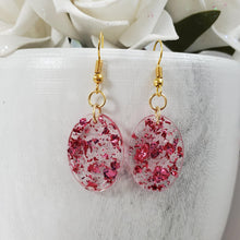 Load image into Gallery viewer, Oval Earrings, Drop Earrings, Resin Earrings, Earrings - Handmade resin oval drop earrings with pink flakes.