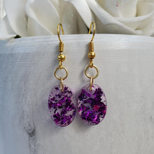 Load image into Gallery viewer, Oval Earrings, Drop Earrings, Resin Earrings, Earrings - Handmade resin oval drop earrings with purple flakes.