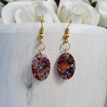Load image into Gallery viewer, Oval Earrings, Drop Earrings, Resin Earrings, Earrings - Handmade resin oval drop earrings with multi-color flakes.