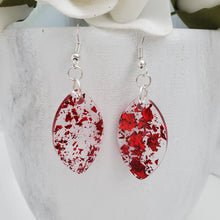 Load image into Gallery viewer, Drop Earrings, Teardrop Earrings, Resin Earrings, Earrings - handmade teardrop resin earrings with red flakes