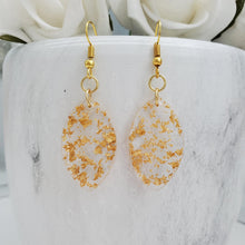 Load image into Gallery viewer, Drop Earrings, Teardrop Earrings, Resin Earrings, Earrings - handmade teardrop resin earrings with gold flakes