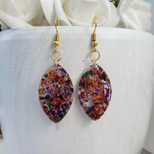 Load image into Gallery viewer, Drop Earrings, Teardrop Earrings, Resin Earrings, Earrings - handmade teardrop resin earrings with multi-color flakes