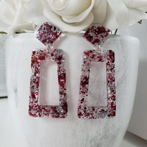 Handmade real flower long rectangular stud earrings made with rose petals and silver leaf preserved in resin. - Flower Earrings, Red Earrings, Dangle Earrings