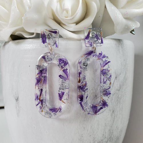 Handmade real flower long oval stud earrings made with purple statice and silver leaf preserved in resin.  - Real Flower Earrings, Purple Earrings, Post Earrings