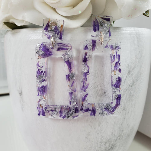 Handmade real flower long rectangular post earrings made with purple statice and silver leaf preserved in resin. - Flower Earrings, Purple Earrings, Long Earrings
