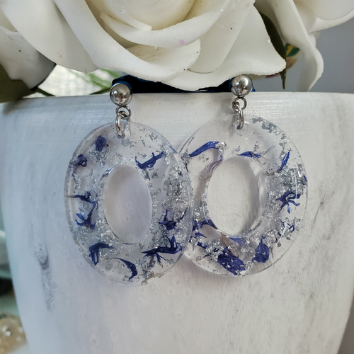 Handmade real flower oval post earrings made with blue cornflower and silver leaf preserved in resin. - Blue Earrings, Flower Earrings, Resin Flower Jewelry