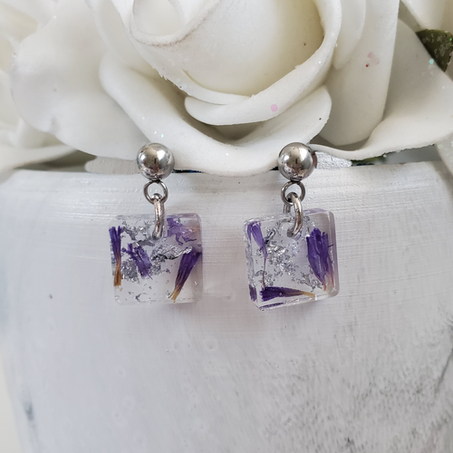 Handmade real flower stud dangle earrings made with purple statice and silver leaf preserved in resin.  - Flower Stud Earrings, Square Earrings, Flower Earrings
