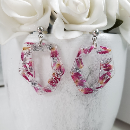 Handmade real flower irregular shape stud drop earrings made with red clover flowers and silver leaf preserved in resin. - Flower Earrings, Rose Earrings, Flower Jewelry