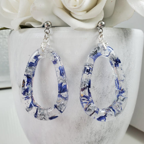 Handmade real flower teardrop post earrings made with blue cornflower and silver leaf preserved in resin.  - Flower Earrings, Teardrop Earrings, Flower Jewelry