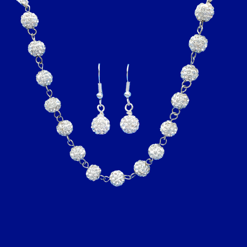 A handmade pave crystal rhinestone silver clear necklace and earring jewelry set.