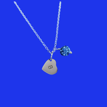 Load image into Gallery viewer, Personalized Initial Pave Crystal Drop Necklace, blue or custom color