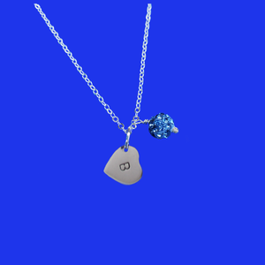 Personalized Initial Pave Crystal Drop Necklace, blue or custom color