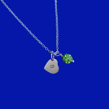 Load image into Gallery viewer, Personalized Initial Pave Crystal Drop Necklace, peridot (green) or custom color