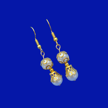 Load image into Gallery viewer, handmade gold accented pearl drop earrings
