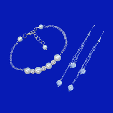 Load image into Gallery viewer, Neeva Pave Pearl Bracelet Earring Jewelry Set