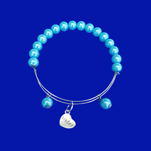 Sister Pearl Charm Expandable Bracelet, aquamarine blue or custom color