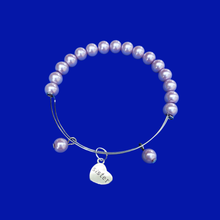 Load image into Gallery viewer, Sister Pearl Charm Expandable Bracelet, lavender purple or custom color