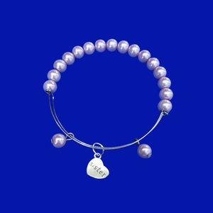 Sister Pearl Charm Expandable Bracelet, lavender purple or custom color