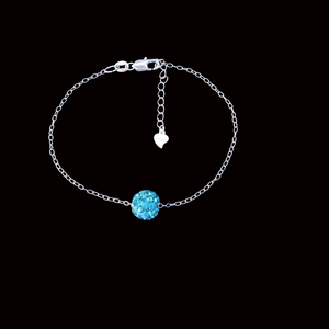 Jewelry Sets - Necklace Set - Bridal Sets, bracelets, handmade floating crystal bracelet, aquamarine blue or custom color