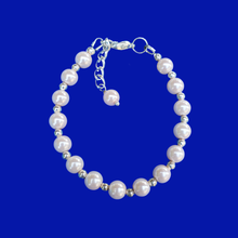Load image into Gallery viewer, handmade silver accented pearl bracelet