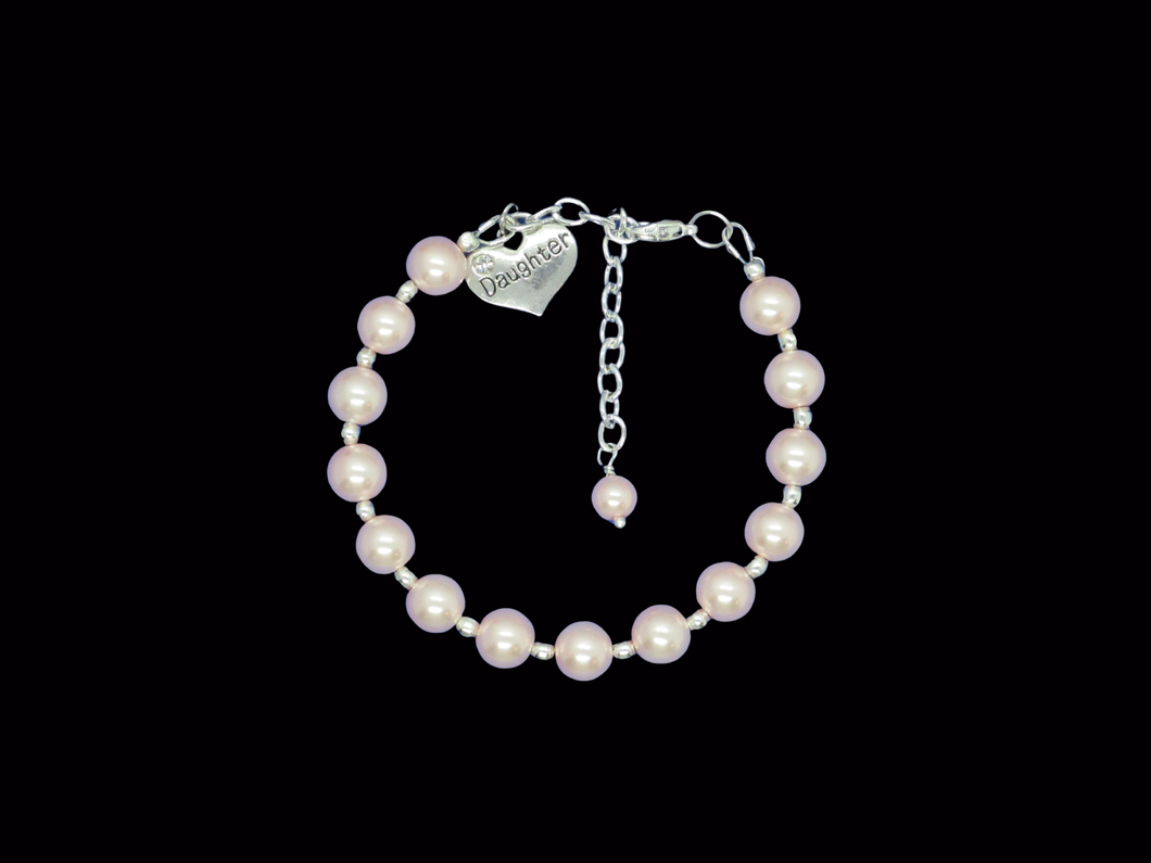 daughter silver accented pearl charm bracelet