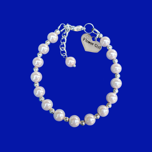 flower girl silver accented pearl charm bracelet