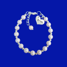 Load image into Gallery viewer, Bride Gift Ideas - Bride Jewelry - Bride Gift, bride silver accented pearl charm bracelet, white or custom color