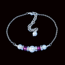 Load image into Gallery viewer, handmade pearl and Swarovski crystal bar bracelet