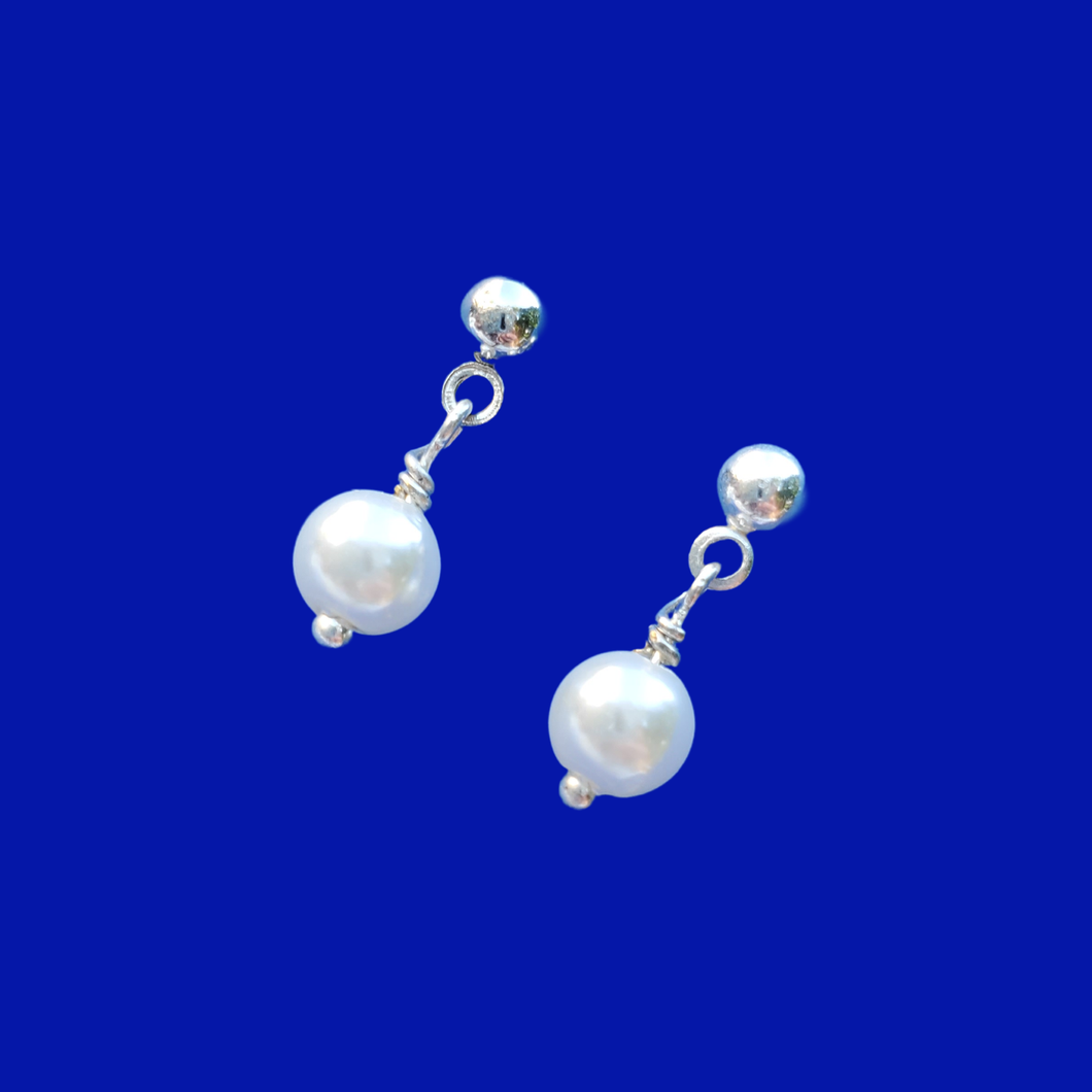 handmade pearl stud earrings, white or custom color